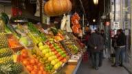 spain madrid sunny day san miguel market fruit corner 4k video