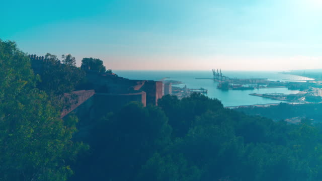 spain malaga castle port view panorama 4k time lapse video