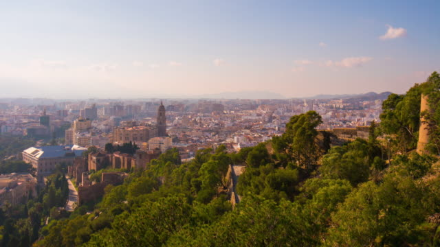 spain malaga city castle view on cathedral panorama 4k time lapse video
