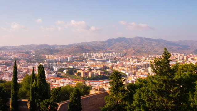 spain malaga sun light city panorama from castle 4k time lapse video