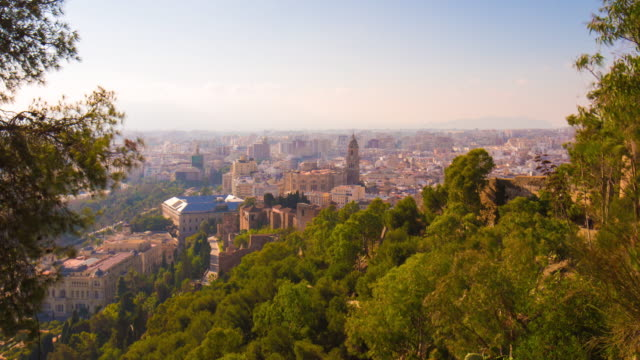 spain malaga sun light city panorama with main cathedral 4k time lapse video