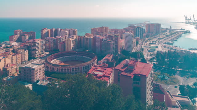 spain malaga sunny day bullfight arena panorama 4k time lapse video