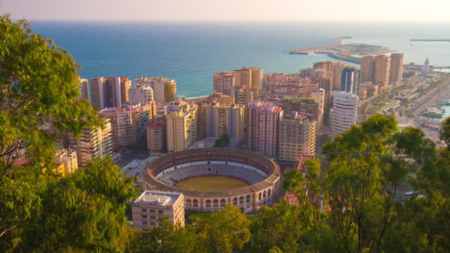 spain malaga sunny day high view bullring sea panorama 4k time lapse video