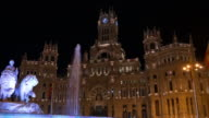 spain night light madrid central post office fountain view 4k video