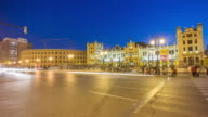 spain night light valencia coliseum central train station square 4k time lapse video