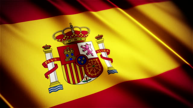 Spain realistic national flag seamless looped waving animation video