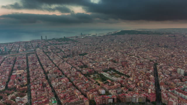spain storm sky barcelona cityscape bay aerial panorama 4k time lapse video
