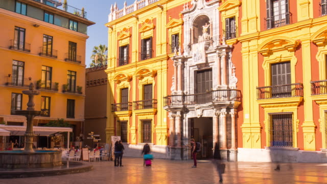 spain sun light malaga city cathedral square 4k time lapse video