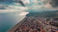 spain sunny day barcelona city bay beach aerial panorama 4k time lapse video