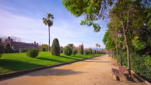 spain sunny day barcelona ciutadella park walking road 4k time lapse video
