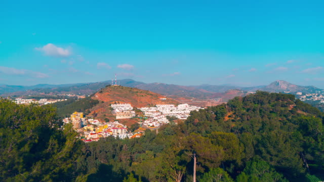 spain sunny day malaga city castle panorama 4k time lapse video