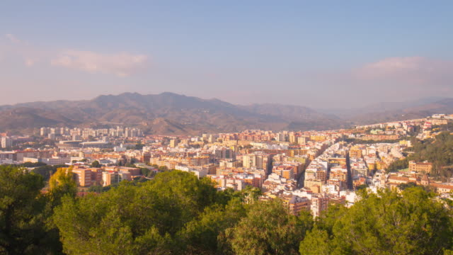 spain sunny day malaga city mountain panorama 4k time lapse video