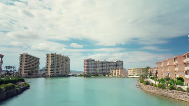spain sunny summer la manga city bay beach street panorama 4k time lapse video