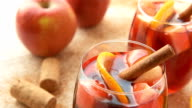 Spanish sangria with red wine and fruits video