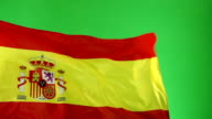 Spanish Spain Flag on green screen, Real video, not CGI - Super Slow Motion video