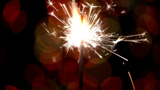 Sparkler close up,bukeh video