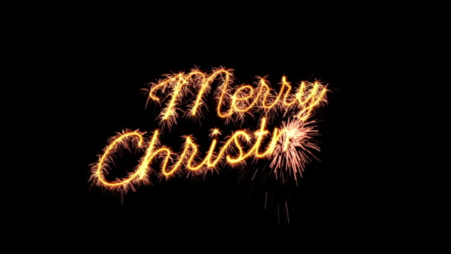 sparkler text animation merry christmas new year greeting loopable video