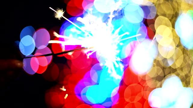Sparklers. Bokeh lights video
