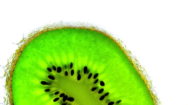 Sparkling water with a slice of kiwi video