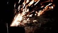 Sparks from cutting metal video