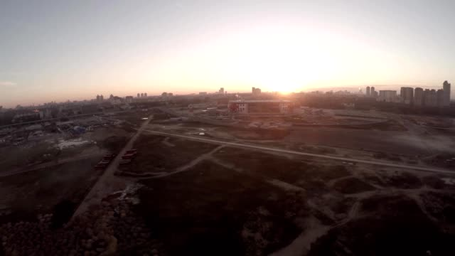 Spartak Otkritie Arena stadium close view. From above. Modern Moscow city Russia. Unique Aerial drone footage. Fifa 2018. Aerial view. Drone. Flying on Smog field. Summer sunset sunrise. Football soccer game. video