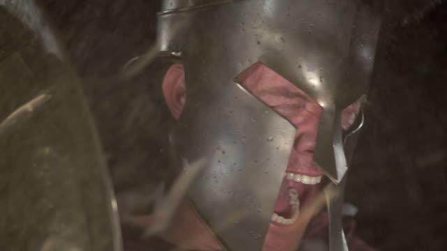Spartan Soldier Yells Behind Shield at 240 fps video