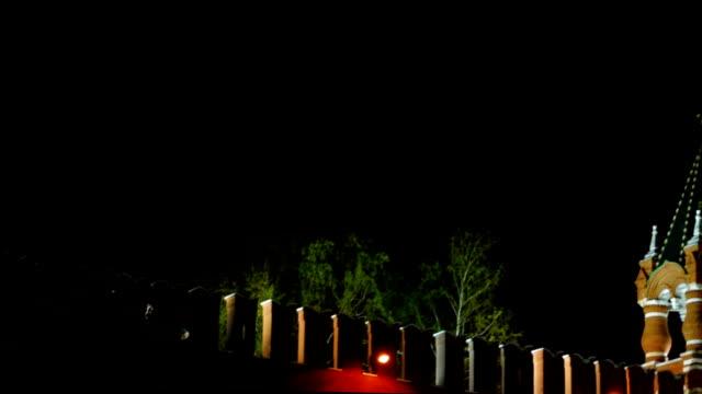 Spasskaya Tower at night video