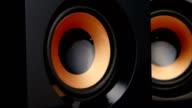 Speaker pumps with bass. Closeup video