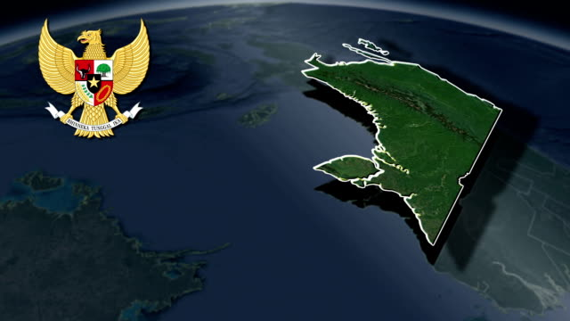 Special Region of West Papua with Coat Of Arms Animation Map video
