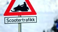 Special road sign snowmobile. Longyearbyen, Spitsbergen. video