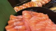 Special salmon sashimi , Bangkok , Thailand. video
