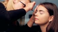 Specialist doing makeup model. video