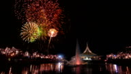 Spectacular Fireworks in Big City Park with Cheering Crowd Audio video