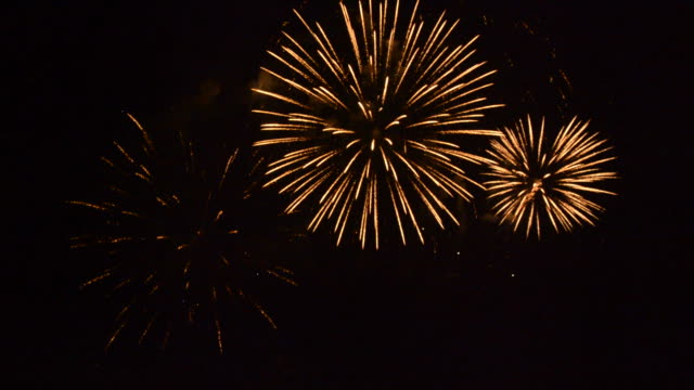 Spectacular golden firework display video