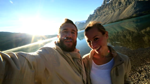 Spectacular mountain lake scenery selfie time video