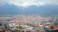 Spectacular panorama of city Innsbruck  and Nordkette Mountain Range in Austria video
