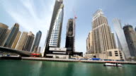 Spectacular skyscrapers surrounding the canal in Dubai video