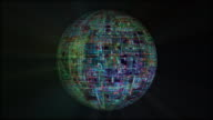 Sphere made of abstract electronic circuits, loopable video