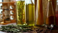 Spices and herbs on kitchen table. Closeup of cooking ingredients. video