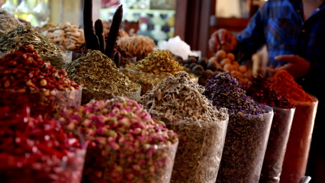 Spices on display at market in Dubai video