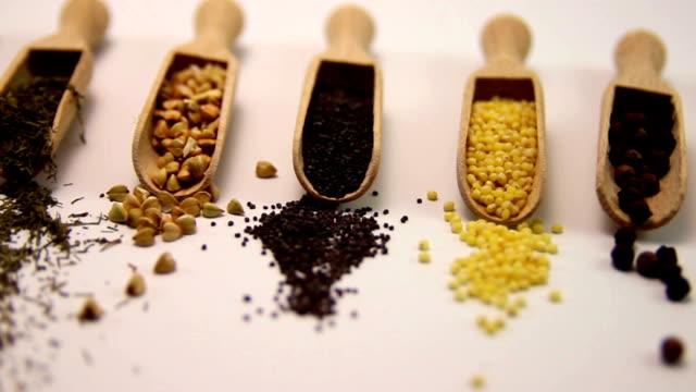 Spices. Spice in Wooden spoon. Herbs, Saffron, cinnamon video