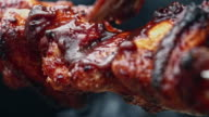 Spicy Chili Chicken Wings Roasting on s Spit video