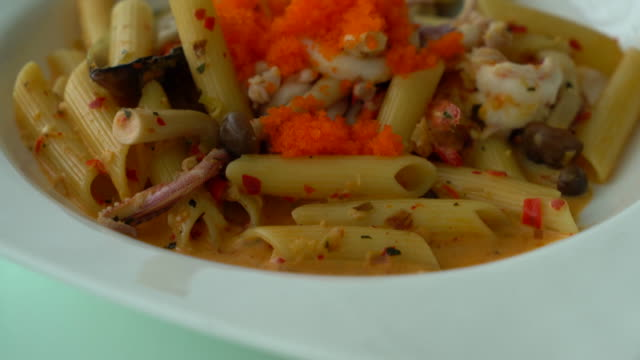 spicy penne seafood video