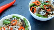 Spicy roasted teriyaki mushrooms and asparagus soba noodles video