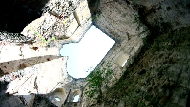 HD: Spining in an old medieval building without roof video