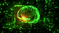 Spinning brain with circuit board background. Loopable. Green-Blue. video