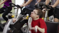 Spinning cycling class with disability video