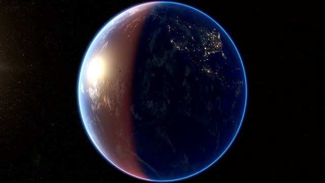 Spinning Earth and zoom in video