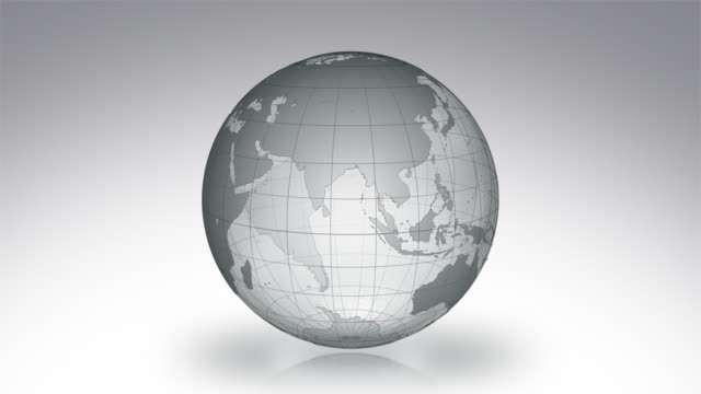 Spinning Earth with Parallels and Meridians. Luma matte. Transparent-Gray. video
