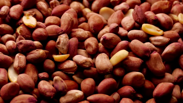 Spinning Pile of Roasted Peanuts in Dark Red Skins video